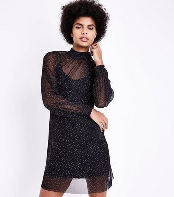 Black Mesh Spot Funnel Neck Tunic Dress