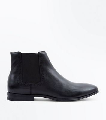Black Leather Brogue Trim Chelsea Boots
