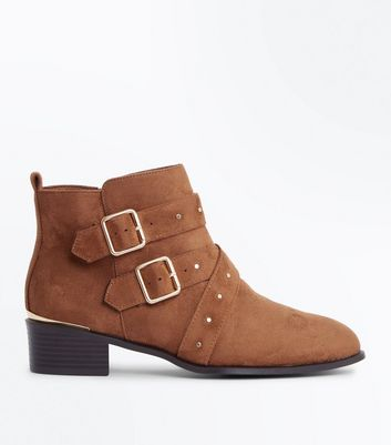 Wide Fit Tan Suedette Stud Buckle Ankle Boots