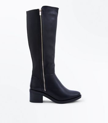 Wide Fit Black Zip Side Knee High Boots