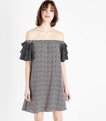 Black Geometric Print Tiered Sleeve Bardot Neck Dress