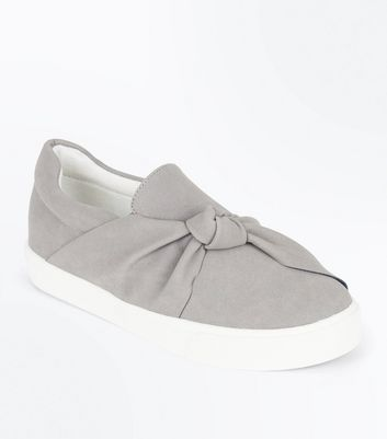Teens Grey Knot Top Slip On Trainers