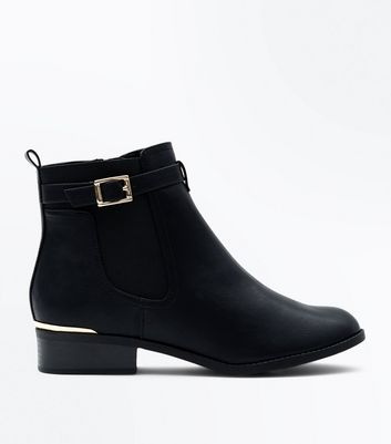 Black Buckle Chelsea Boots