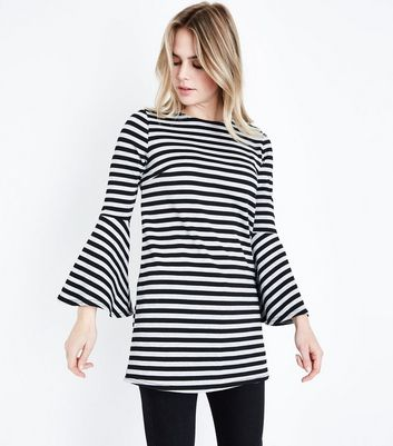 Black Stripe Bell Sleeve Tunic