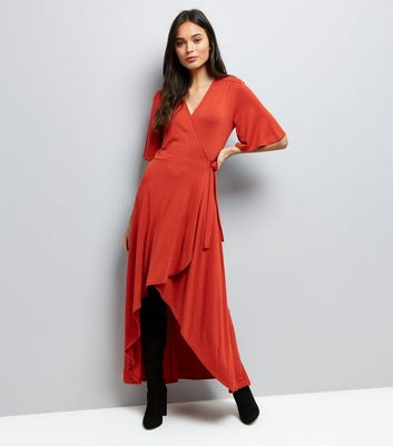 Rust Wrap Front Dip Hem Maxi Dress