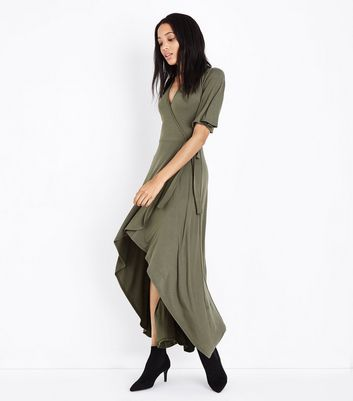 Khaki Wrap Front Dip Hem Maxi Dress