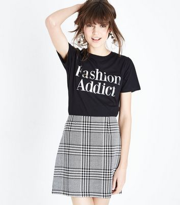 Black Brushed Prince of Wales Check Mini Skirt