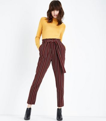 Burgundy Stripe Paperbag Waist Trousers