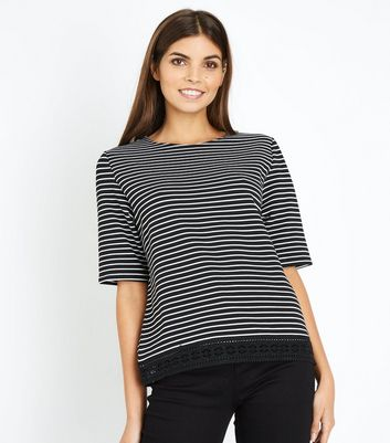 Black Stripe Lace Hem T-Shirt