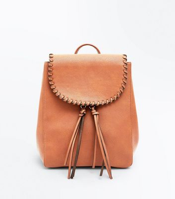 Tan Whipstitch Tassel Mini Backpack