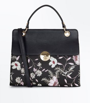 Black Floral Print Top Handle Bag