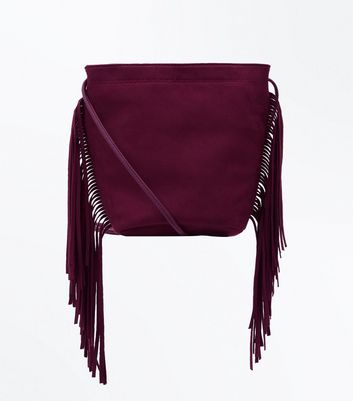 Burgundy Fringe Side Cross Body Bag