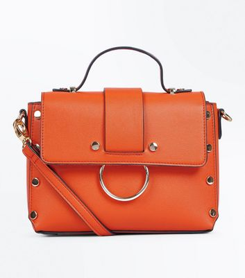 Bright Orange Metal Trim Cross Body Bag