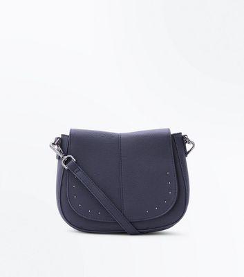 Navy Studded Front Saddle Bag