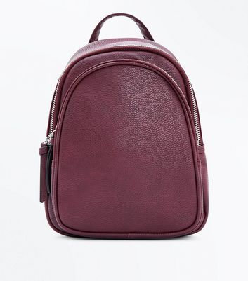 Burgundy Double Zip Around Mini Backpack