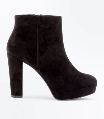 Wide Fit Black Suedette Platform Heeled Boots
