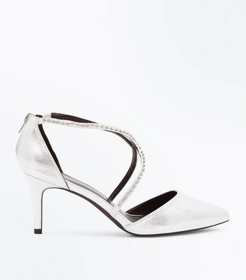 Wide Fit Silver Metallic Diamante Cross Strap Heels