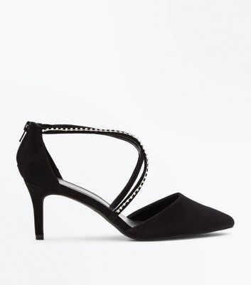 Wide Fit Black Suedette Diamante Cross Strap Courts