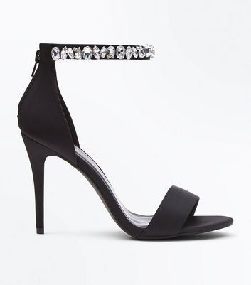 Wide Fit Black Satin Gem Strap Stiletto Sandals