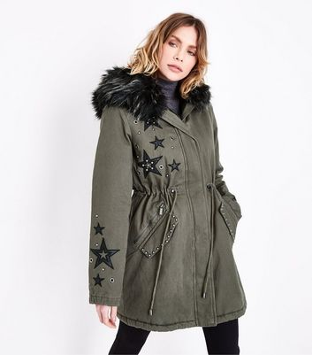 Khaki Star Embellished Faux Fur Hooded Parka