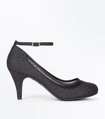 Black Glitter Mesh Trim Round Toe Courts