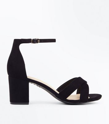 Black Comfort Flex Suedette Cross Strap Sandals