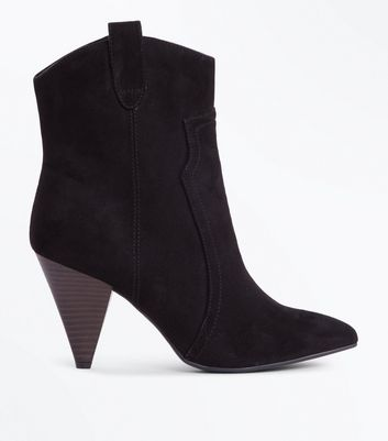 Wide Fit Black Suedette Cone Heel Western Boots