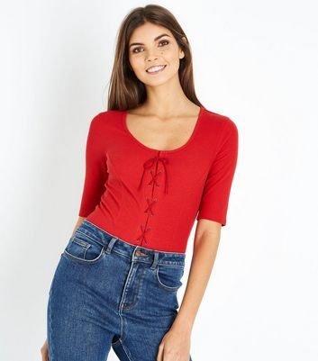 Red Ribbed Lace Up 1/2 Sleeve T-Shirt