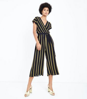 Black Stripe Wrap Culotte Jumpsuit