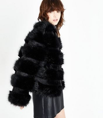 Black Pelted Faux Fur Jacket