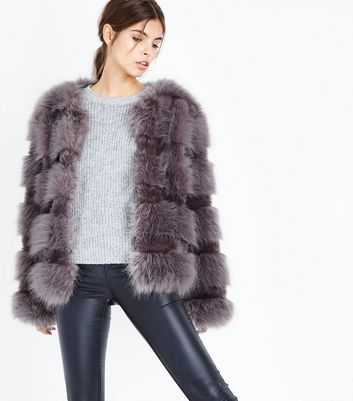 Grey Pelted Faux Fur Jacket