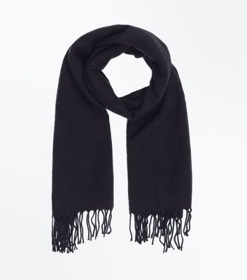 Black Tassel Trim Scarf