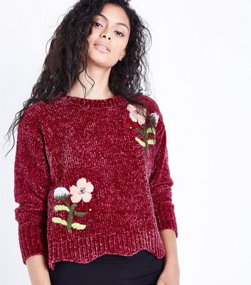 Cameo Rose Burgundy Embroidered Chenille Jumper