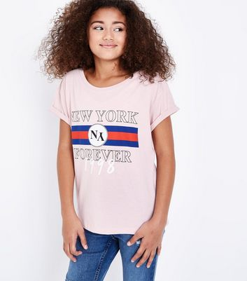 Teens Pink New York Forever Puff Print T-Shirt