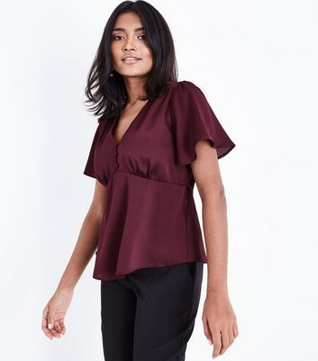 Petite Burgundy Satin Button Front Blouse
