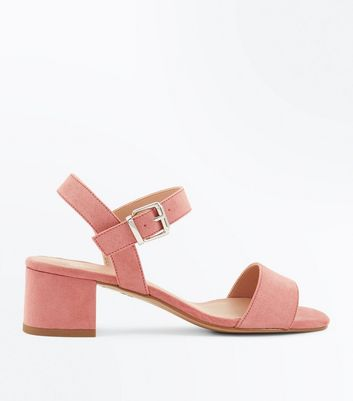 Teens Pink Suedette Block Heel Sandals
