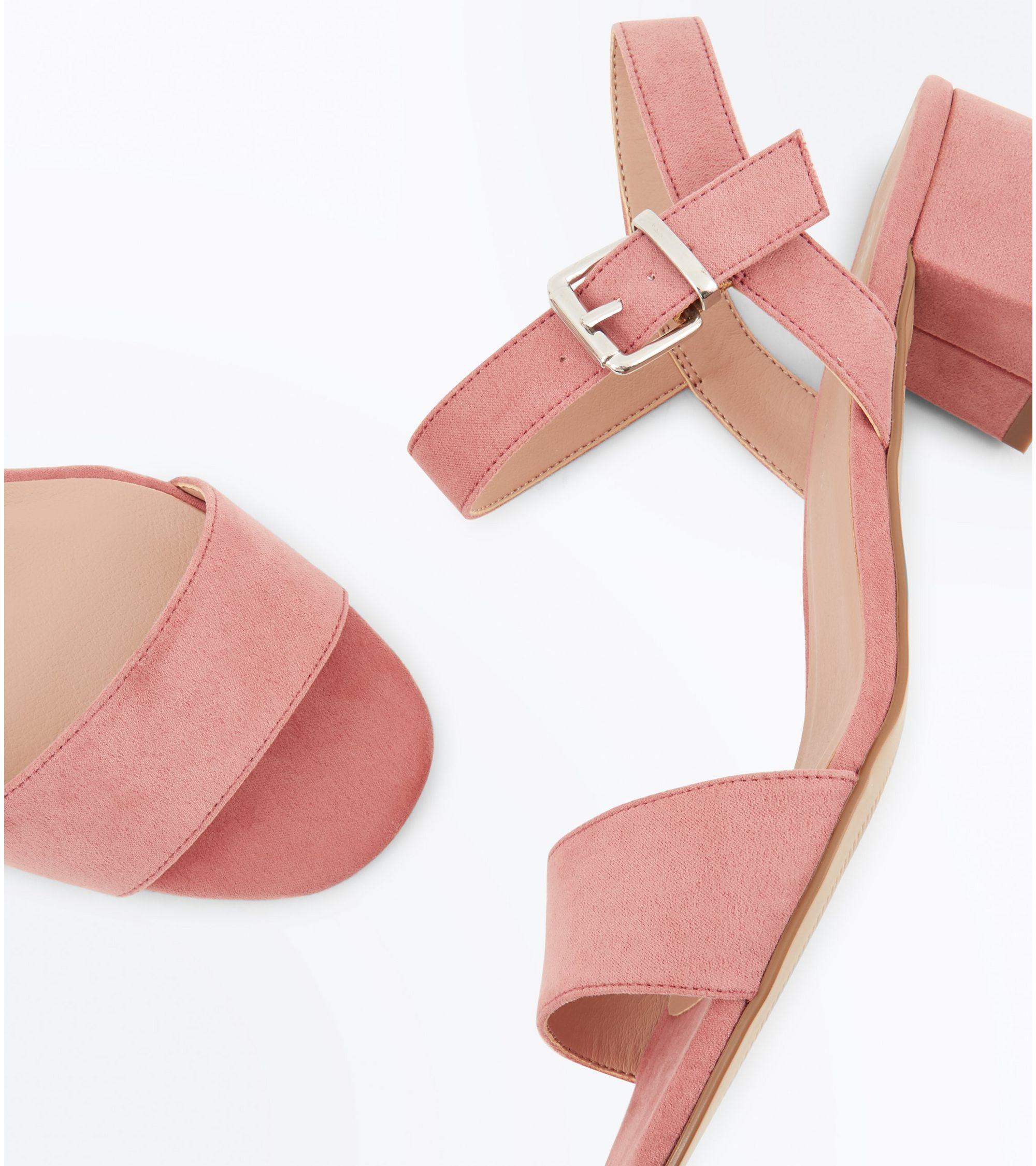 6f473837169 New Look Teens Pink Suedette Block Heel Sandals at £19.99