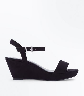 Teens Black Suedette Mid Heel Wedges