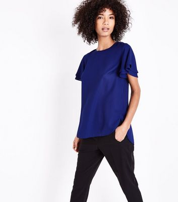Blue Tiered Sleeve Step Hem Top