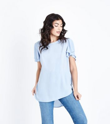 Pale Blue Tiered Sleeve Step Hem Top