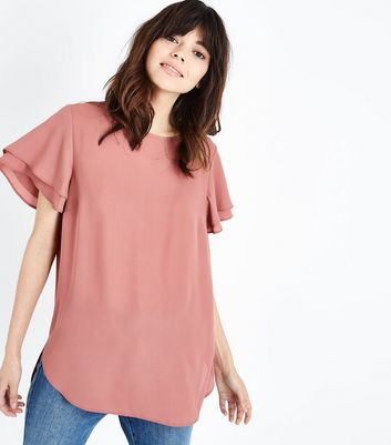 Pale Pink Tiered Sleeve Step Hem Top by New Look