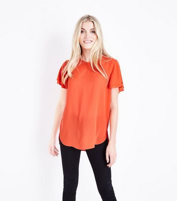 Bright Orange Tiered Sleeve Step Hem Top