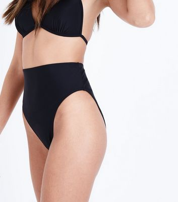 Black High Waist High Leg Bikini Bottoms