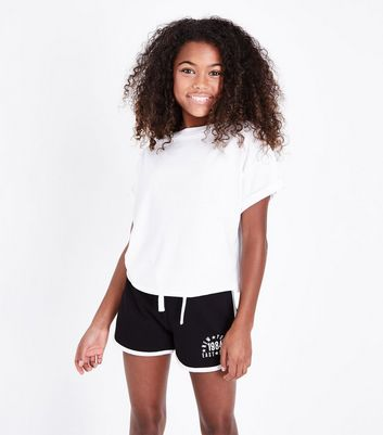 Girls Black East Side Slogan Shorts