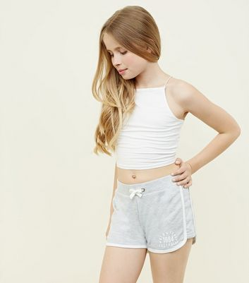 Girls Grey New York Slogan Side Shorts