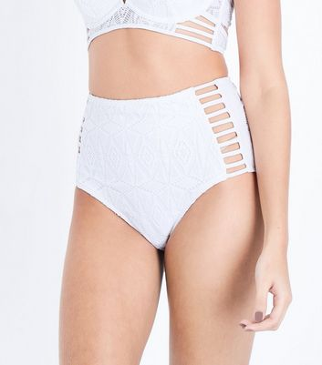 White Crochet Caged High Waist Bikini Bottoms