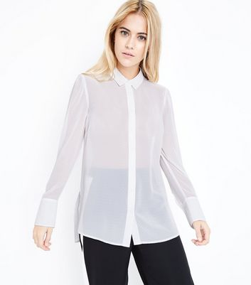 Off White Chiffon Gathered Sleeve Shirt