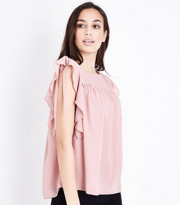 Pale Pink Ruched Frill Trim Top