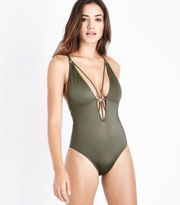 Khaki Ring Strappy Swimsuit