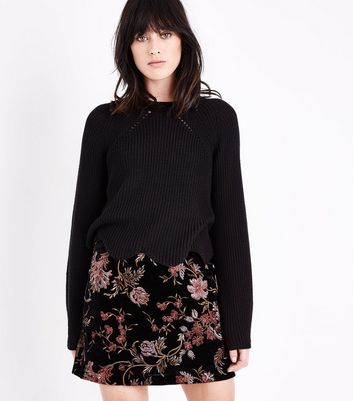Black Scallop Hem Jumper